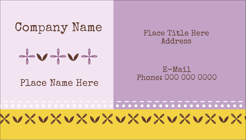 "2"" x 3½"" Business Card - Geometric Lavender Blossoms"