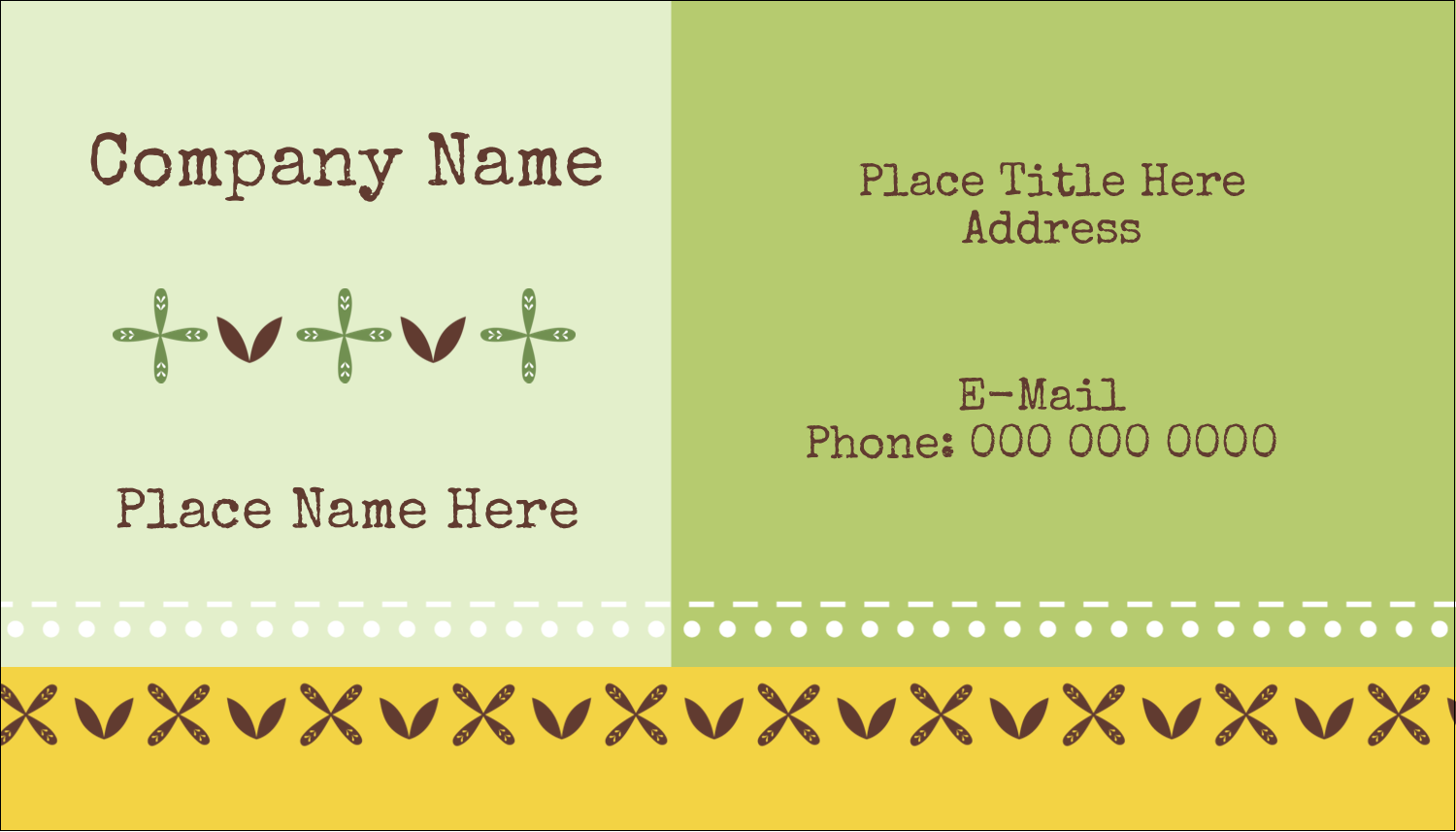 "2"" x 3½"" Business Card - Geometric Green Blossoms"