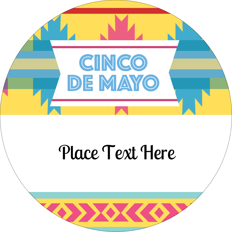 "3"" Round Label - Cinco de Mayo Serape"