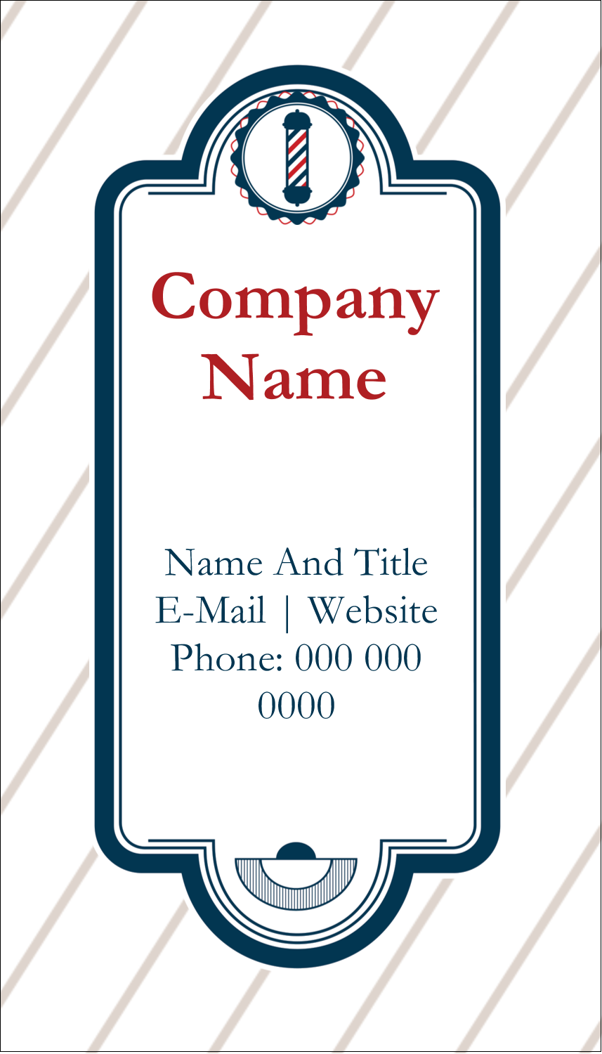 "3½"" x 2"" Business Card - Barber Pole"