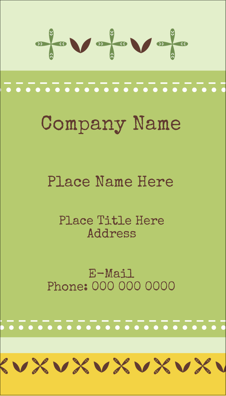 "3½"" x 2"" Business Card - Geometric Green Blossoms"