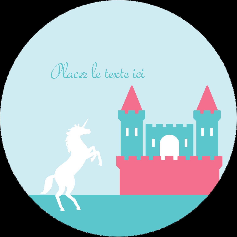 """3"""" Diameter Étiquettes rondes - Château"""