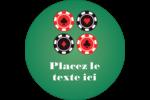 Partie de poker Étiquettes rondes - gabarit prédéfini. <br/>Utilisez notre logiciel Avery Design & Print Online pour personnaliser facilement la conception.