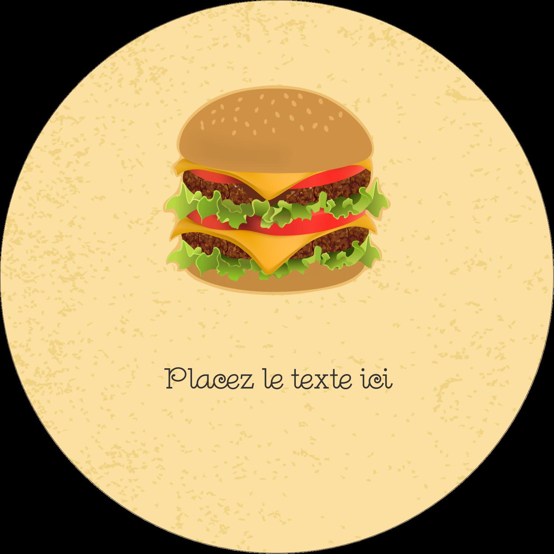 """3"""" Diameter Étiquettes rondes - Hamburger"""