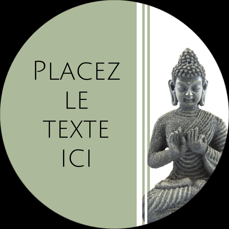 """3"""" Diameter Étiquettes rondes - Bouddha"""