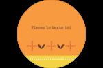 Fleurs orange géométriques Étiquettes rondes - gabarit prédéfini. <br/>Utilisez notre logiciel Avery Design & Print Online pour personnaliser facilement la conception.