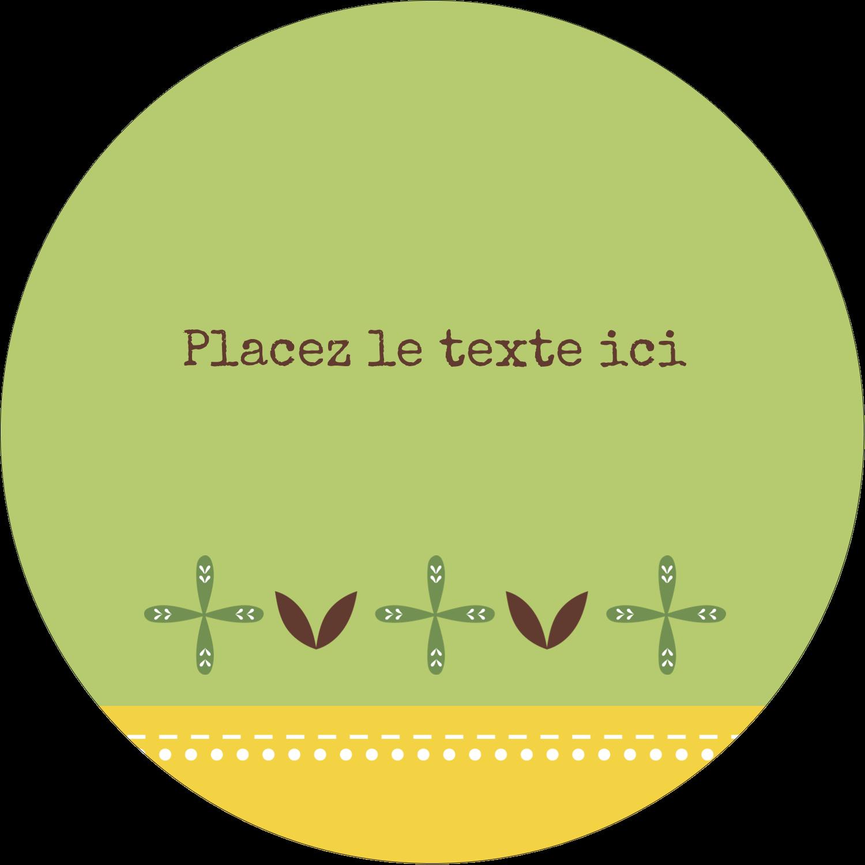 """3"""" Diameter Étiquettes rondes - Fleurs vertes géométriques"""