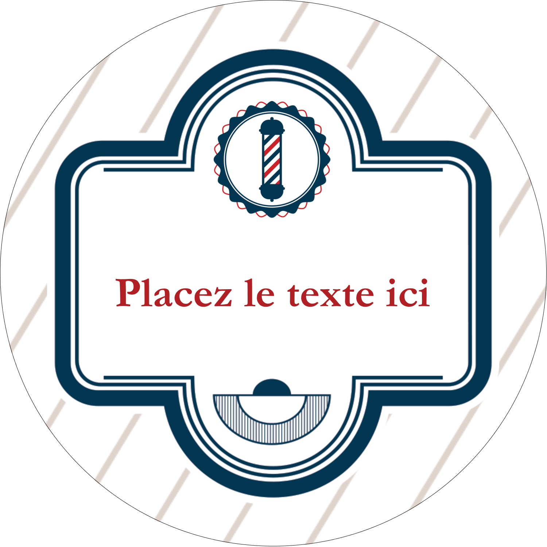"""3"""" Diameter Étiquettes rondes - Enseigne de barbier"""