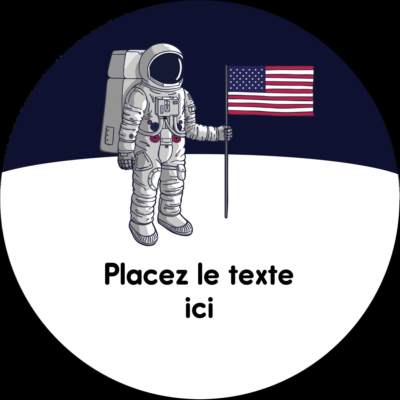 """3"""" Diameter Étiquettes rondes - Astronaute"""