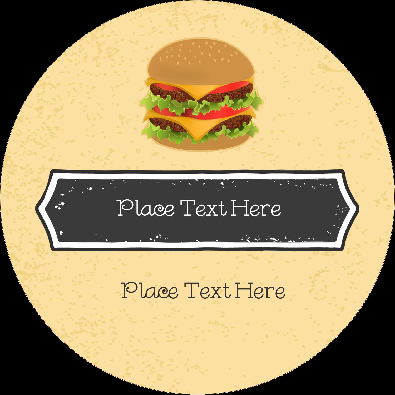 "3"" Round Label - Burger"