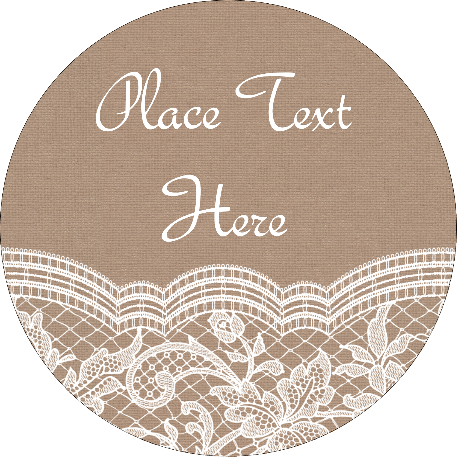 "3"" Round Label - Burlap Lace"