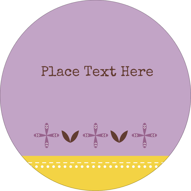 "3"" Round Label - Geometric Lavender Blossoms"