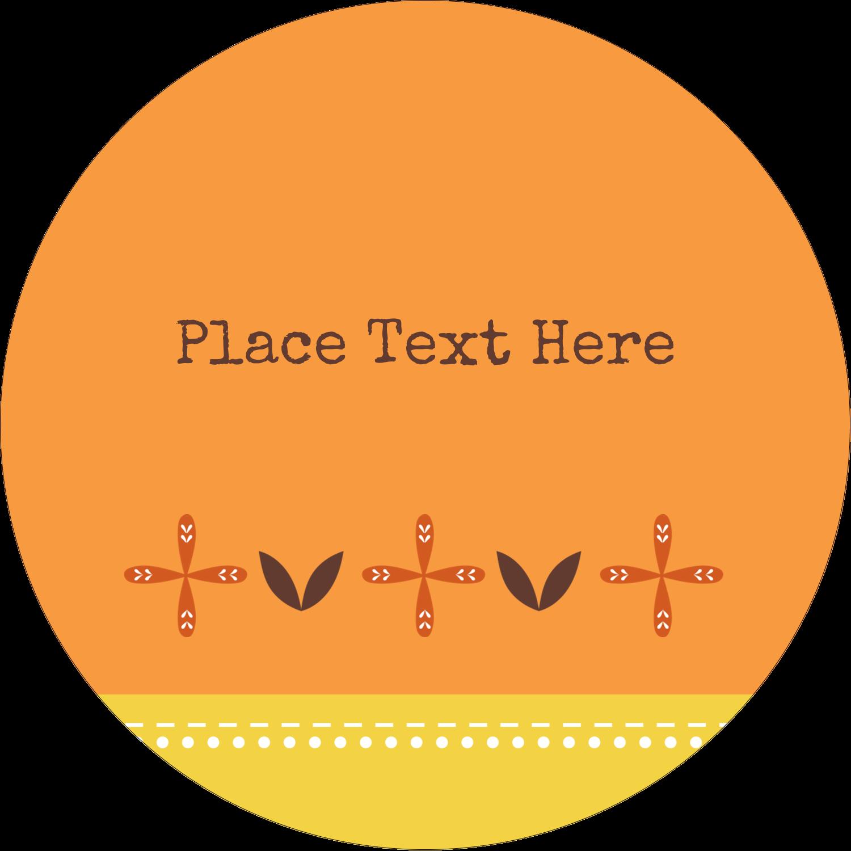 "3"" Round Label - Geometric Orange Blossoms"
