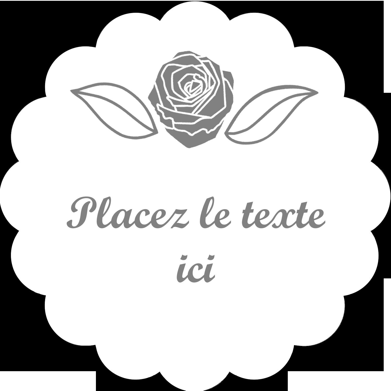 """2"""" Diameter Étiquettes festonnées - Bouquet de fleurs"""