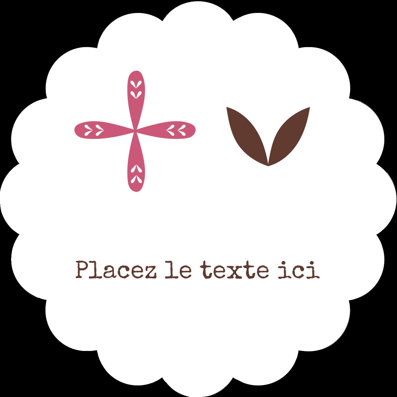 """2"""" Diameter Étiquettes festonnées - Fleurs roses géométriques"""