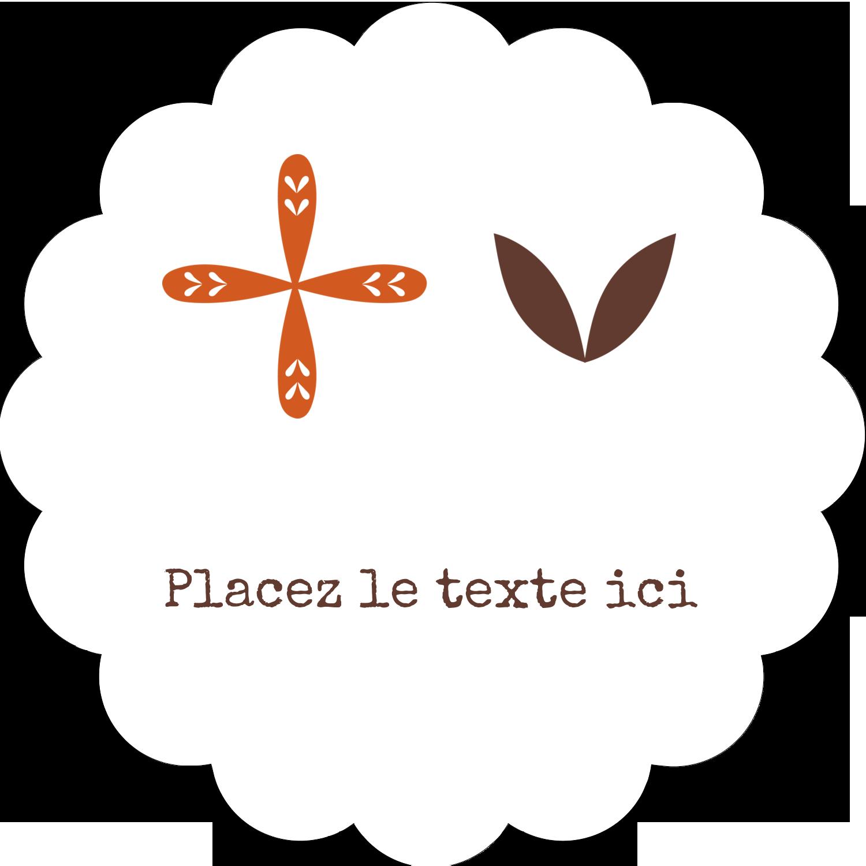 """2"""" Diameter Étiquettes festonnées - Fleurs orange géométriques"""