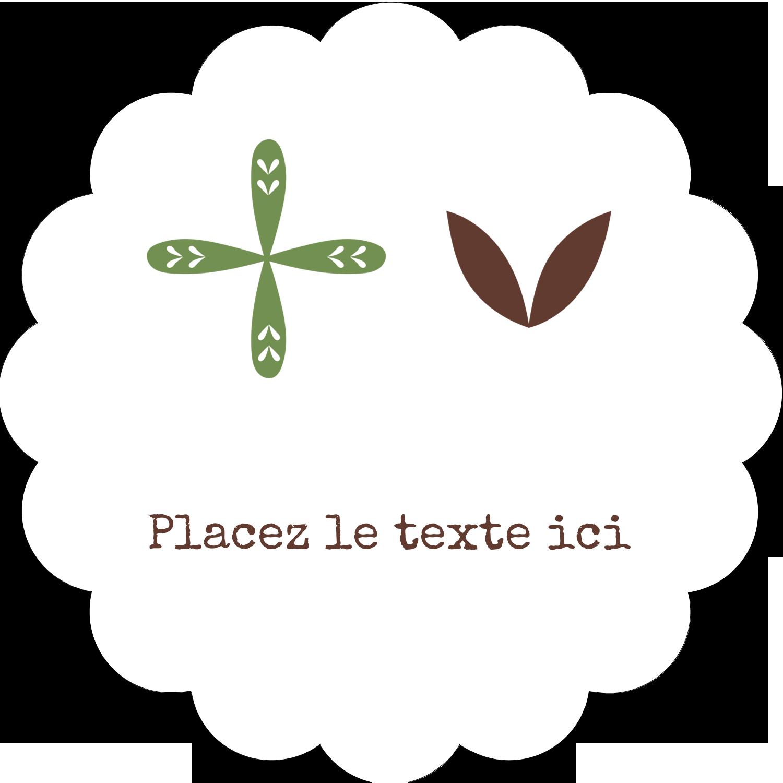 """2"""" Diameter Étiquettes festonnées - Fleurs vertes géométriques"""