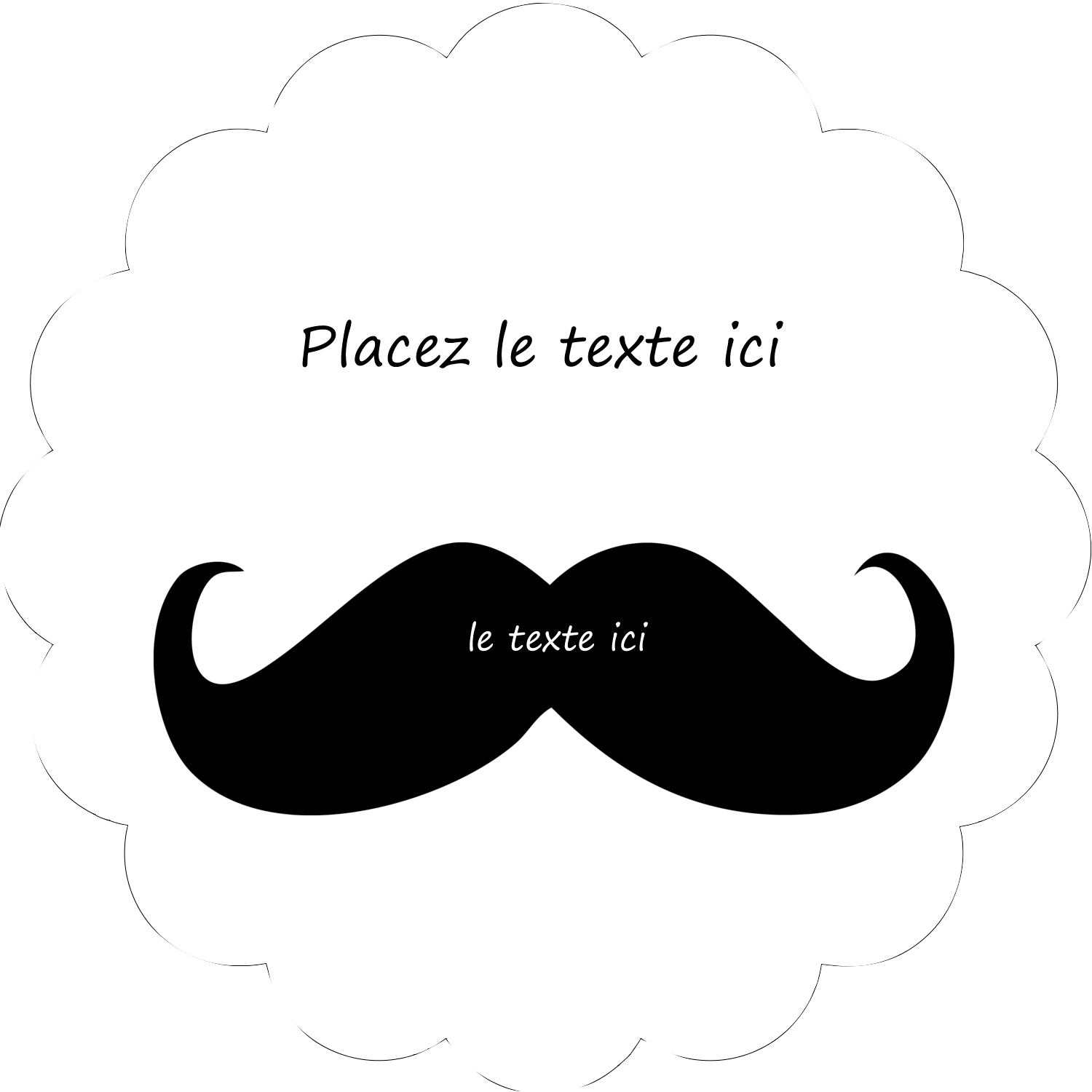 """2"""" Scallop Oval Label - Candy Mustache"""