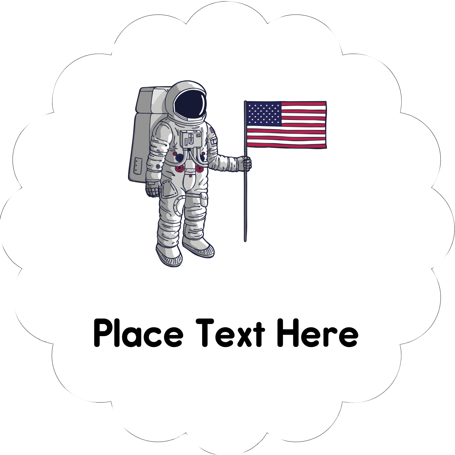 """2"""" Scallop Oval Label - Astronaut"""