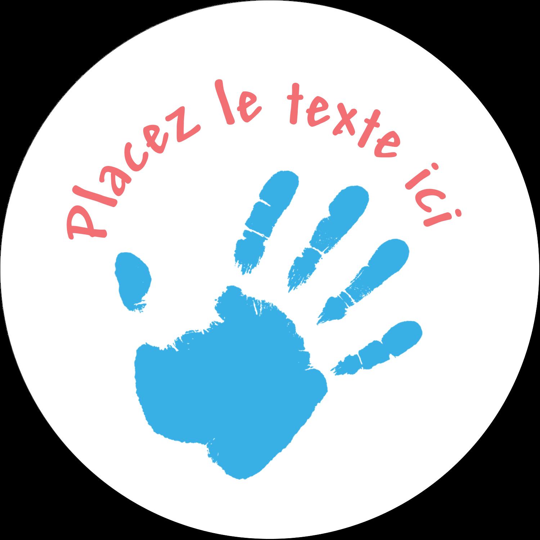"""3"""" Diameter Étiquettes rondes - Mains enfantines"""