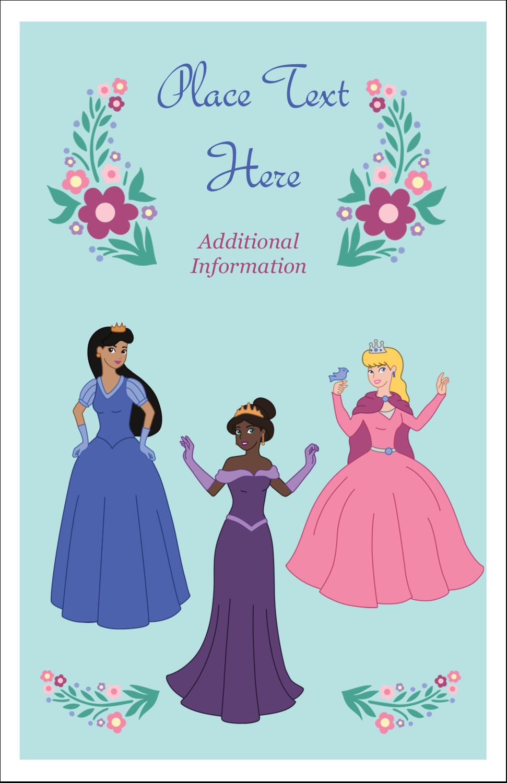 "5"" x 8½"" Half Fold Card - Princesses"