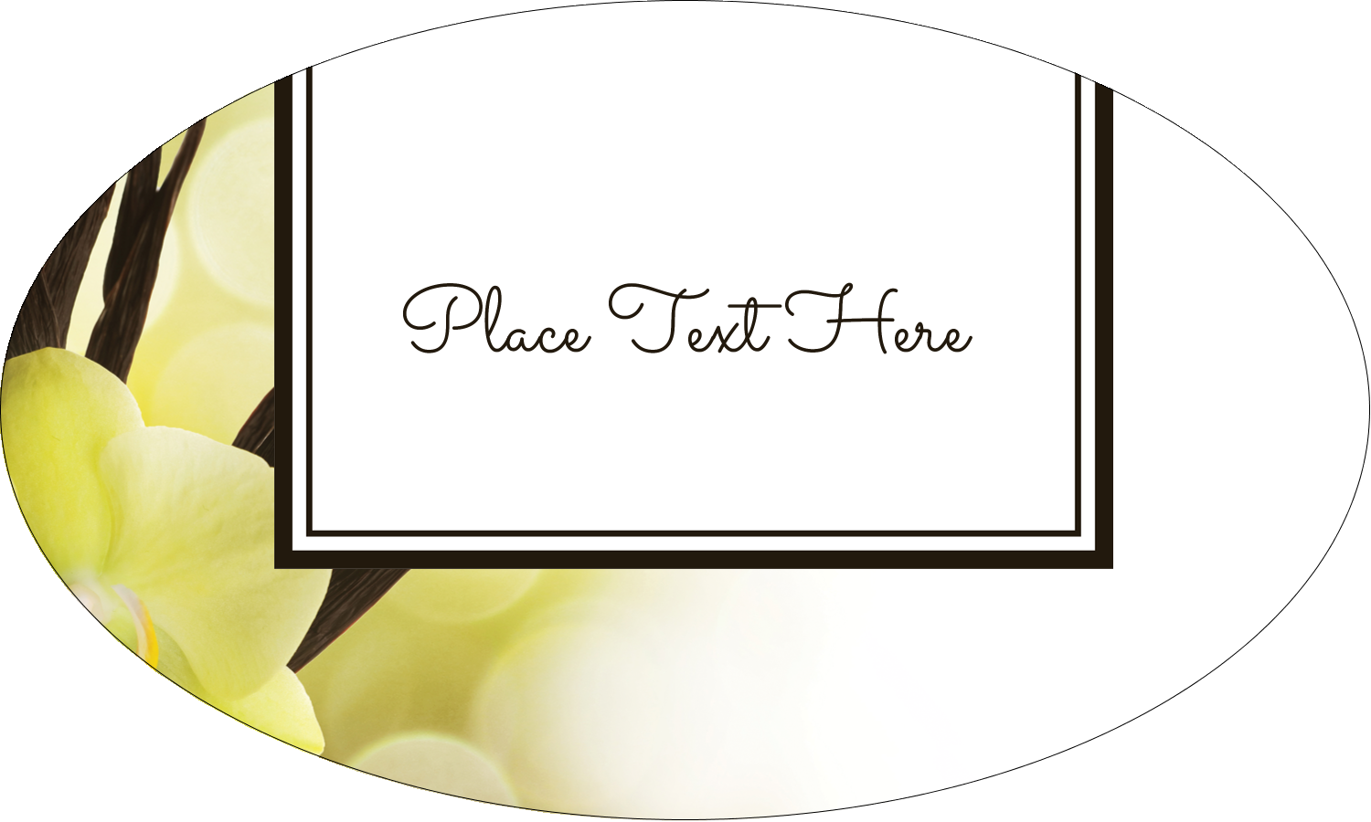 "1½"" x 2½"" Oval Glossy Label - Vanilla Bean Flower"