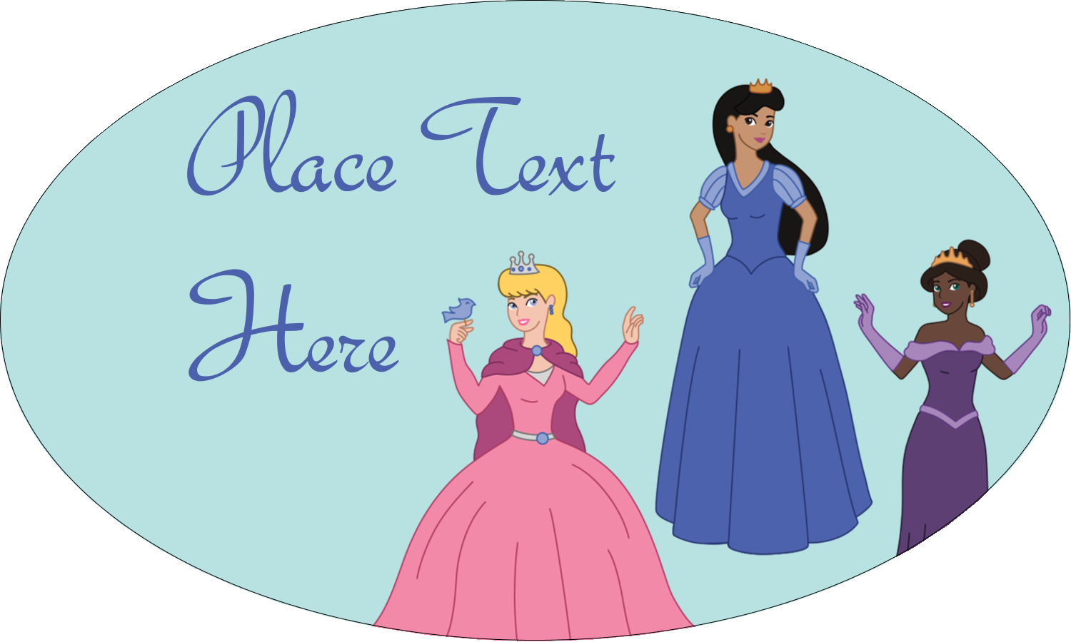 "1½"" x 2½"" Oval Glossy Label - Princesses"