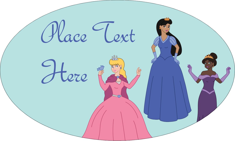"1½"" x 2½"" Oval Glossy Label - Princesses"