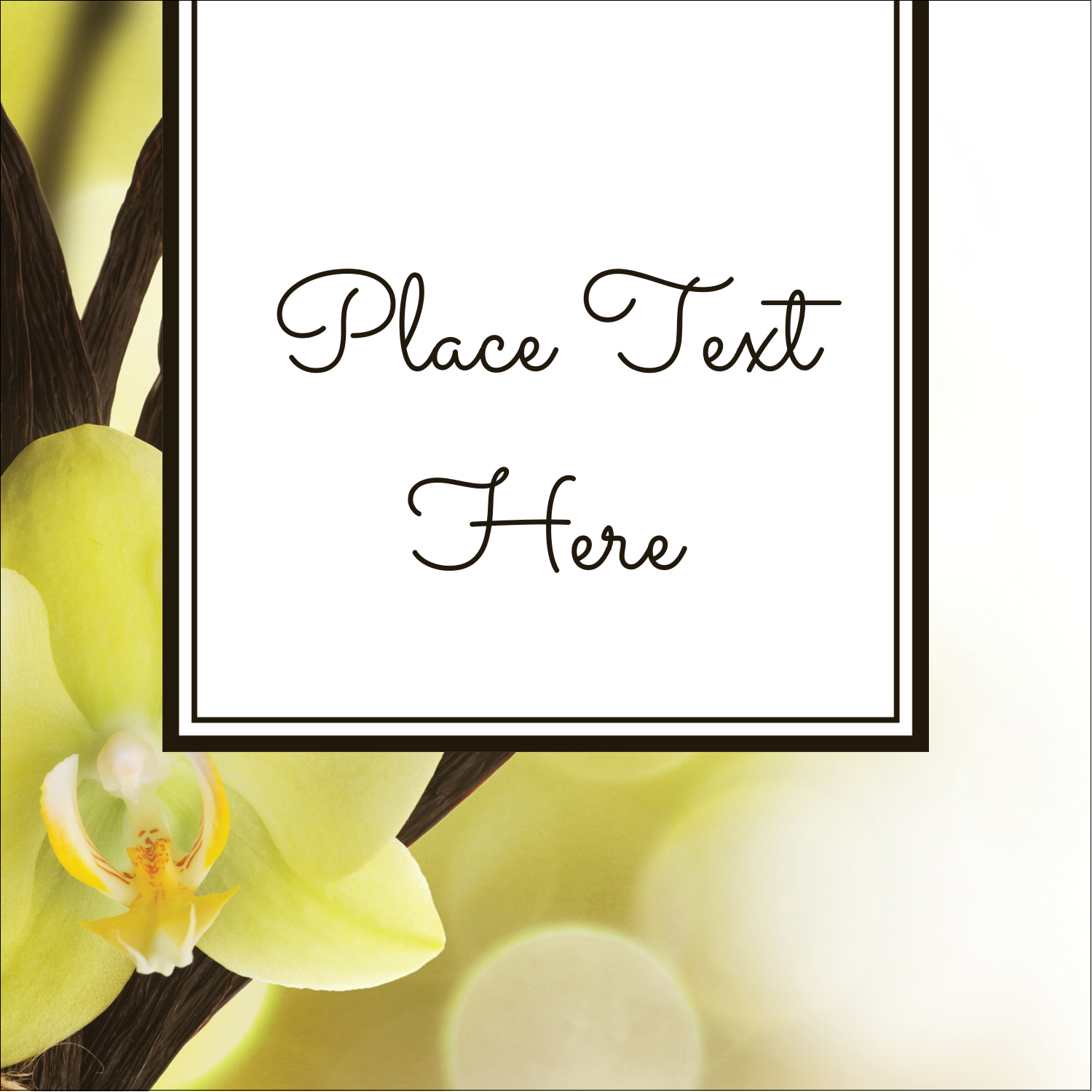 "1½"" x 1½"" Square Label - Vanilla Bean Flower"