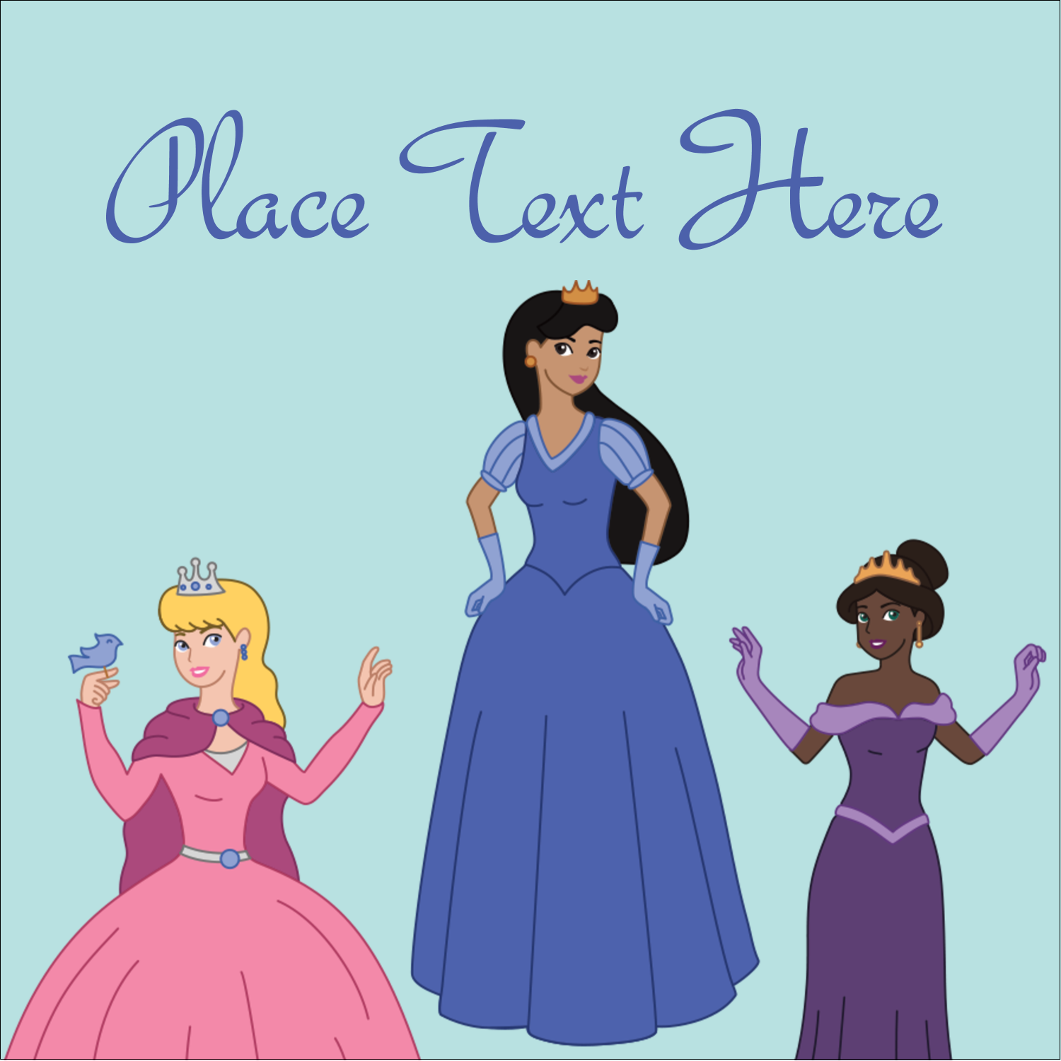 "1½"" x 1½"" Square Label - Princesses"