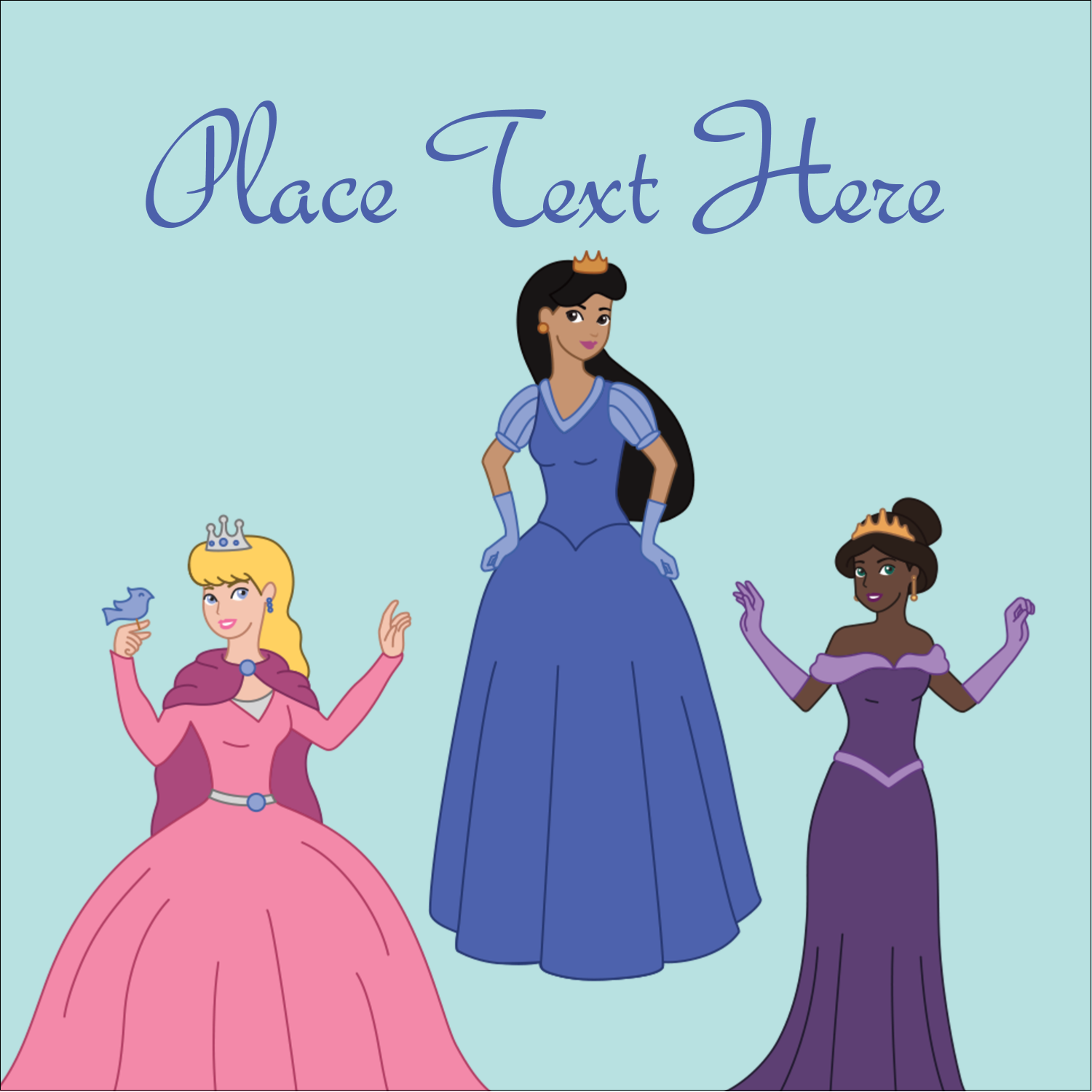"2"" x 2"" Square Label - Princesses"