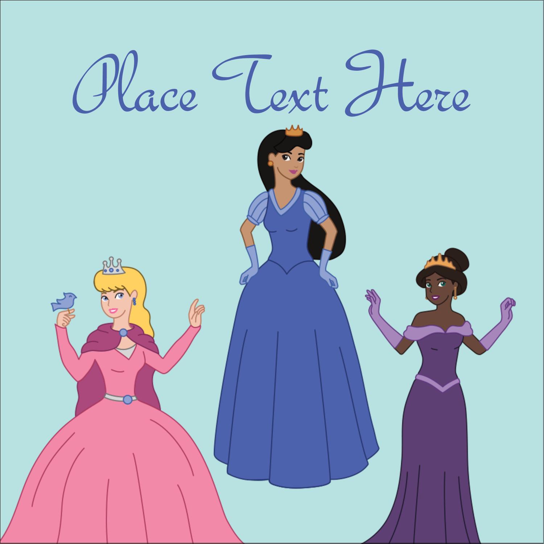 "2"" x 2"" Square Label - Princesses"