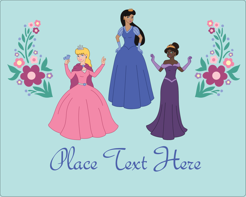 "3"" x 3¾"" Rectangular Label - Princesses"