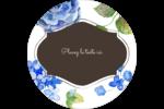 Bleu floral  Étiquettes arrondies - gabarit prédéfini. <br/>Utilisez notre logiciel Avery Design & Print Online pour personnaliser facilement la conception.
