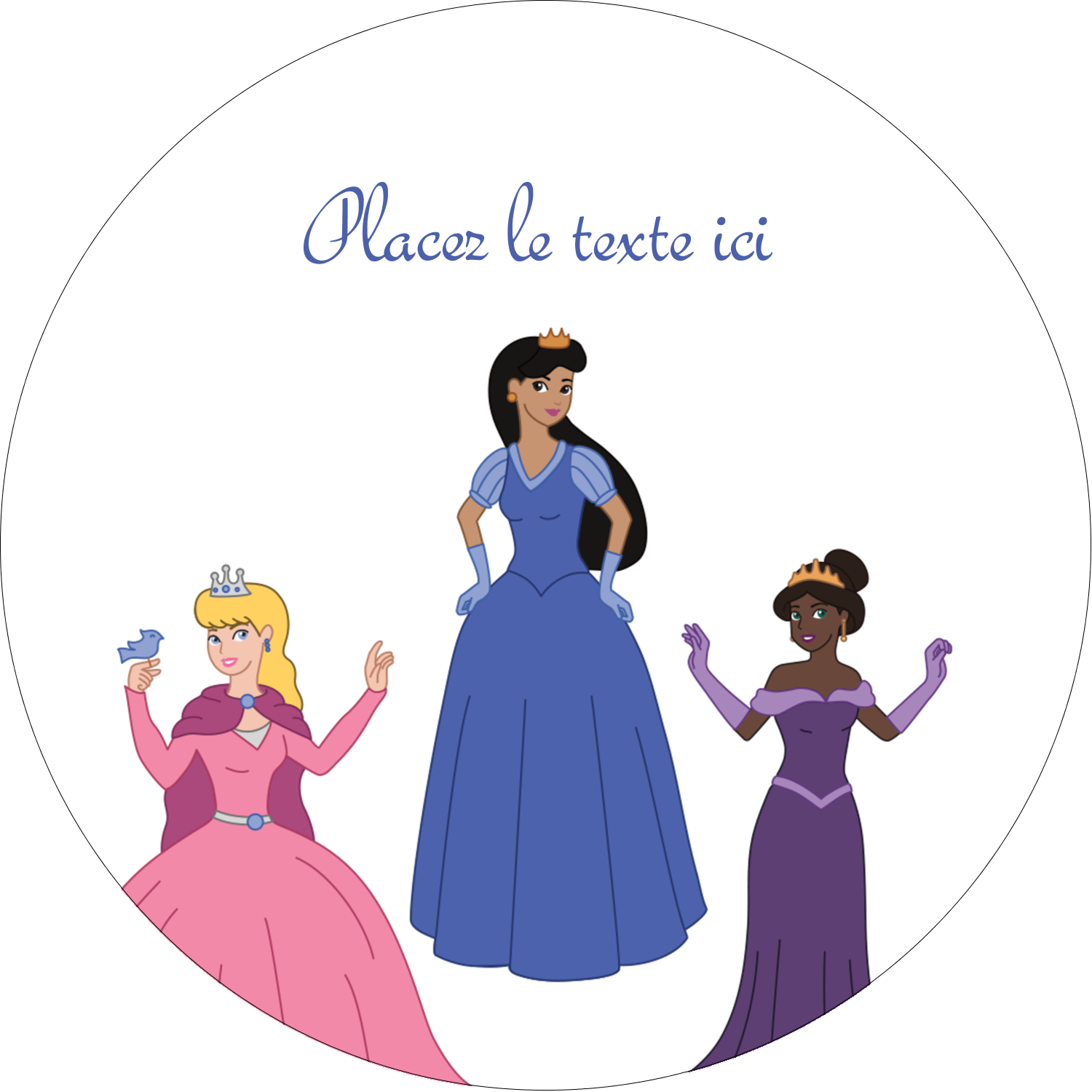 "3"" x 2¼"" Étiquettes arrondies - Princesses"