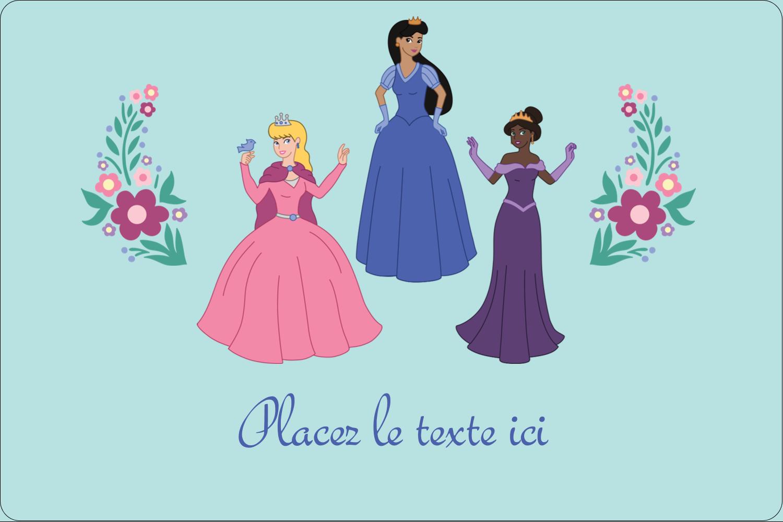 """3"""" x 3¾"""" Étiquettes rectangulaires - Princesses"""