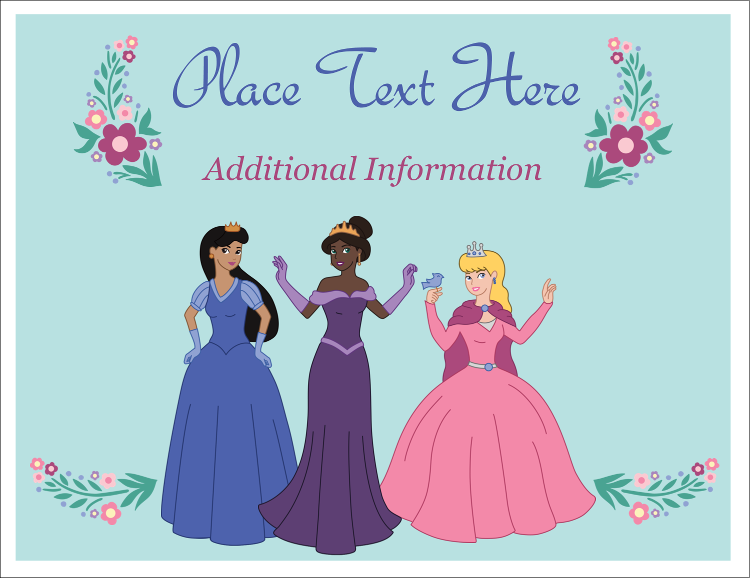 "5½"" x 4¼"" Note Card - Princesses"