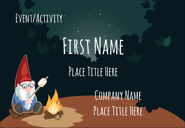 "3⅜"" x 2⅓"" Name Badge - Gnome Camping"