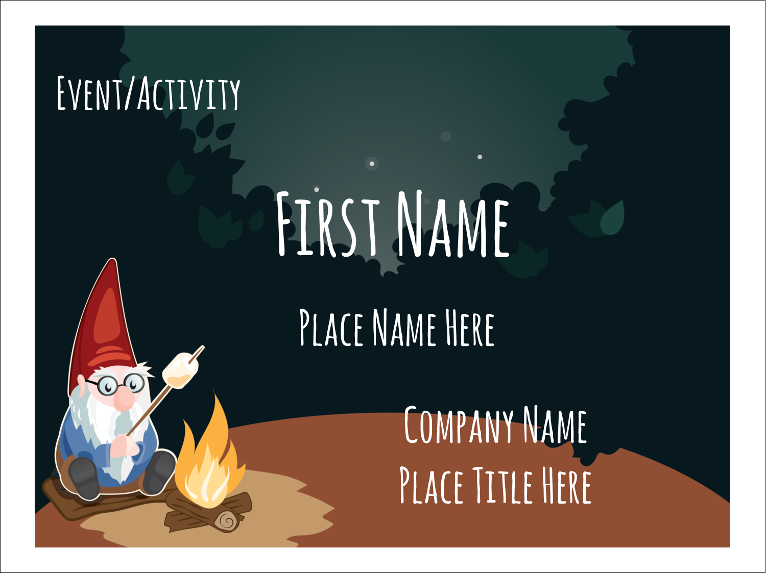 """3"""" x 4"""" Name Tags - Gnome Camping"""