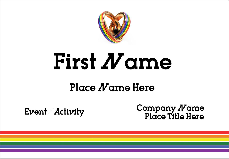 "3⅜"" x 2⅓"" Name Badge - Gay Wedding"