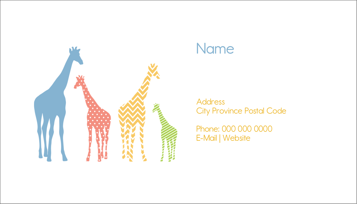 "2"" x 3½"" Business Card - Giraffe Party"