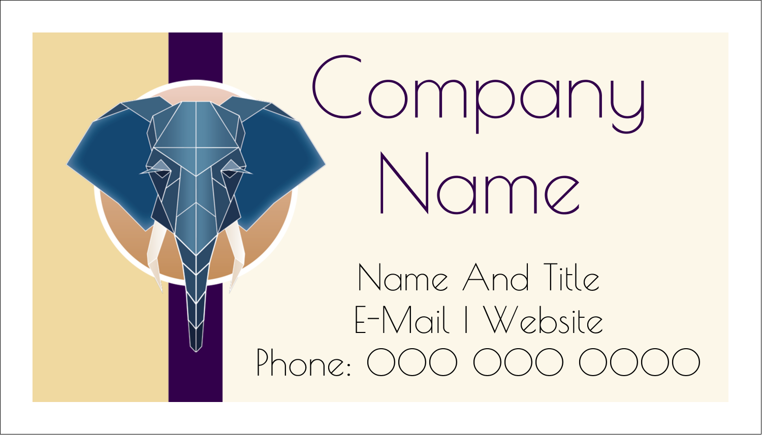"2"" x 3½"" Business Card - Geometric Elephant"