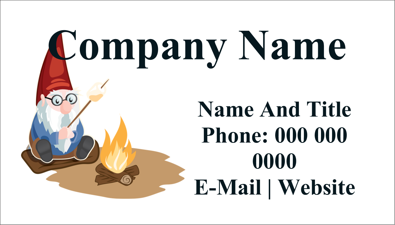 """2"""" x 3½"""" Business Card - Gnome Camping"""