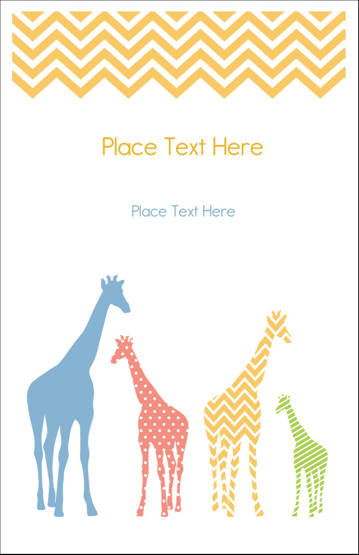 """5"""" x 8½"""" Half Fold Card - Giraffe Party"""