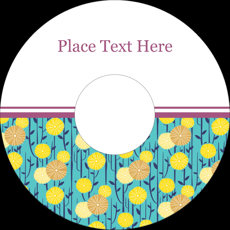 """4.65"""" CD-DVD Label - Dandelion Print"""