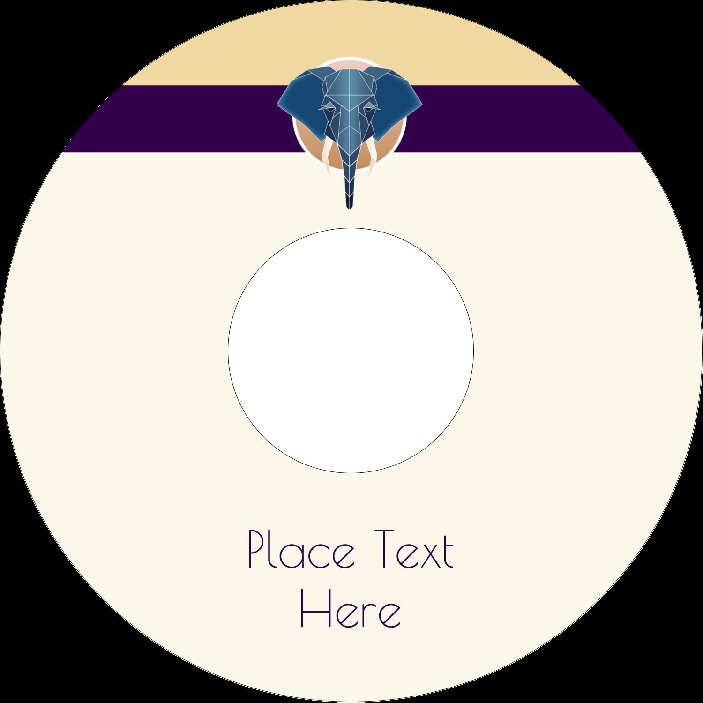 "4.65"" CD-DVD Label - Geometric Elephant"