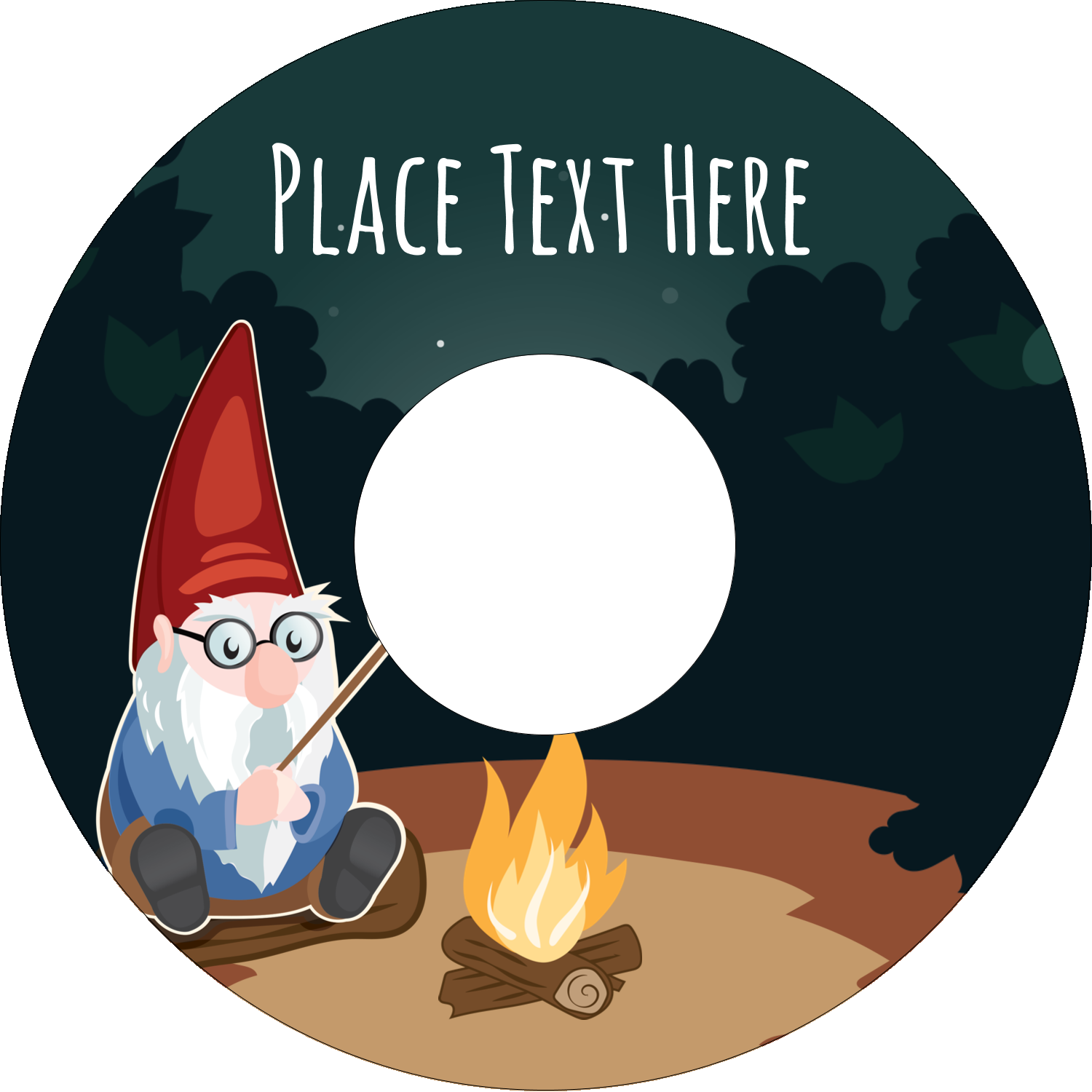 "4.65"" CD-DVD Label - Gnome Camping"
