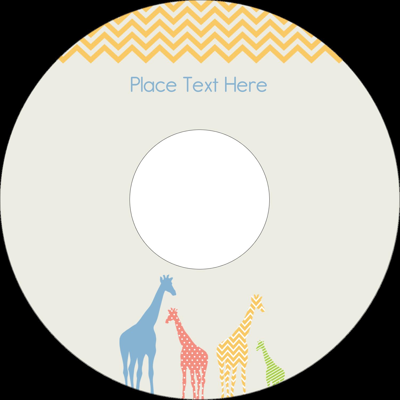 """4.65"""" CD-DVD Label - Giraffe Party"""