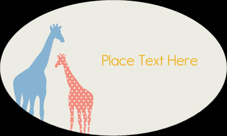 "1½"" x 2½"" Oval Glossy Label - Giraffe Party"