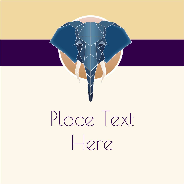 "1½"" x 1½"" Square Label - Geometric Elephant"